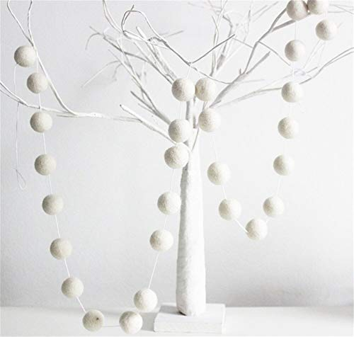 Nicole Knupfer Wool Felt Ball Garland Colourful Pom Pom Garland 2 m Long 30 Felt Balls Garlands for Wall Christmas Tree Jewellery Baby Shower Party (White)