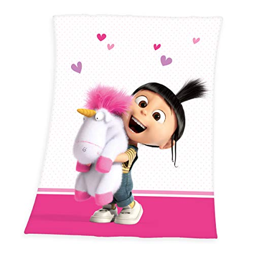 Herding Minions Fleece-Decke, Polyester, rosa/weiß, 130 x 160cm