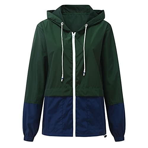 Briskorry Chaqueta de lluvia para mujer con capucha, resistente al agua, cortavientos, chaqueta de entretiempo, chaqueta para exteriores, informal, cremallera ligera, verde, S