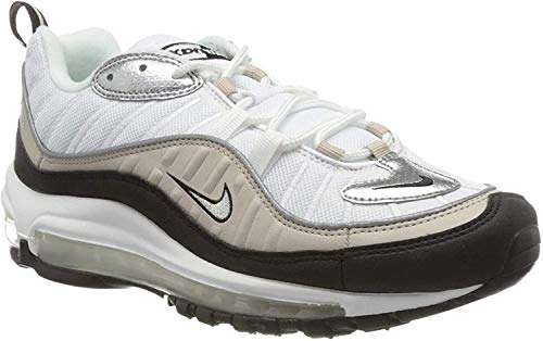 Nike Damen W AIR MAX 98 Laufschuh, White Metallic Silver Desert Sand Black, 41 EU