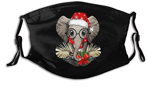 Cute Baby Elephant Glasses ChristmasFace Mouth Cover Adjustable Earloop Face Anti Dust with Filter for Men & Women