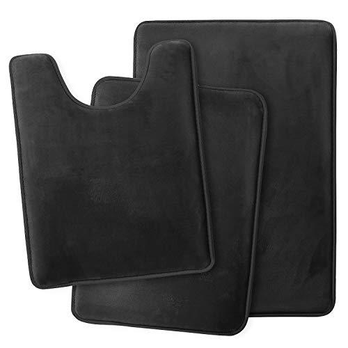 Clara Clark Bathroom Rugs, Ultra Soft Non Slip and Absorbent, Velvet Memory Foam Bath Mat. Set of - 20 x 32 / 17 x 24 / 19 x 24, Black