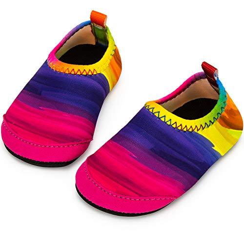 Yorgou Zapatos de agua para niños y niñas, zapatos de playa para niños pequeños, calcetines acuáticos descalzos antideslizantes para piscina y playa