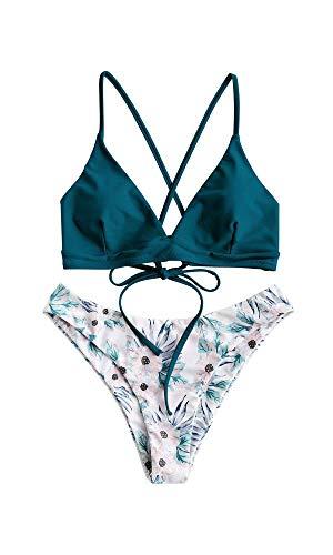 ZAFUL zweiteilig Bikini-Set mit verstellbarem BH Push-Up Rücken, Triangle Bustle Badehose mit Blummenmuster (Pfauenblau, M)