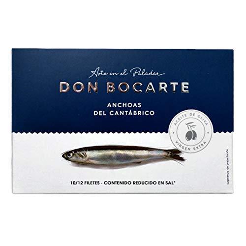 Anchoas Don Bocarte 10-12 Filetes en Aceite de Oliva Virgen Extra - Anchoas en Aceite - Anchoas del Cantabrico - Peso Neto 100 gramos - Contenido Reducido en Sal