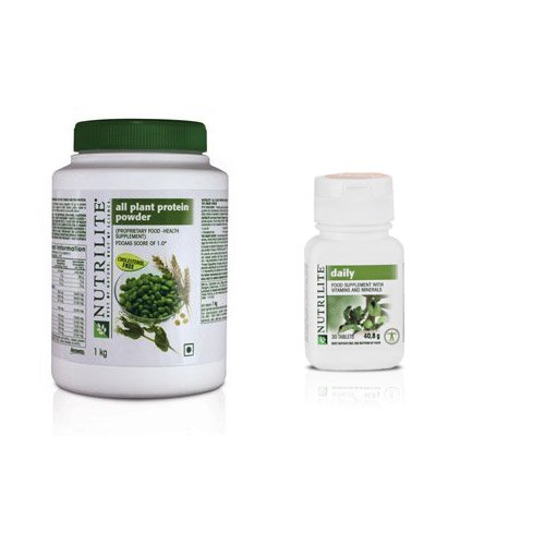 Amway Nutrilite All Plant Protein Powder 1kg with Amway-Nutrilite 30 Tablets