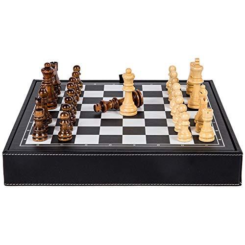 LZRDZSW Hohe Qualität Massivholz Holz International Chess Checkers Set Brettspiel Faltbare bewegliche, Schwarzweiss-Leder Aufbewahrungsplatte mit Samtbeutel schachspiel Holz