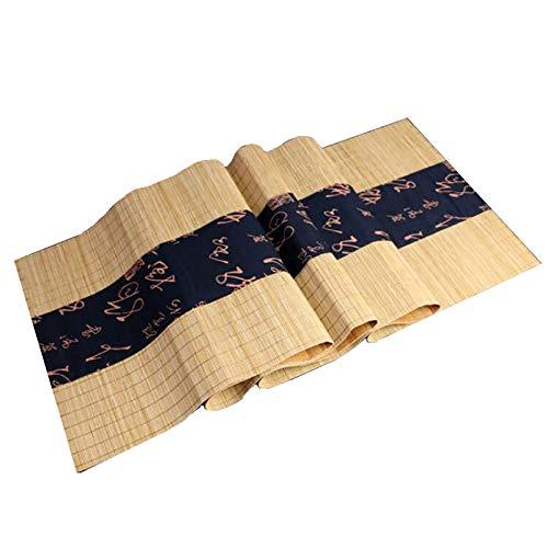 LiQi Corredor de Mesa Camino de Mesa de Bambú de Estilo Japonés Retro, Casa de Campo Salón de Té/Mantel de Decoración Rectangular para El Hogar, Mantel Individual Antideslizante Resistente Al Calor