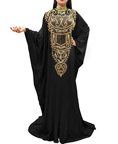 African Boutique Langarm-Lycra-Kaftan-Kleid, Übergröße, Perlen, marokkanisch, afrikanisches Kleid für Damen - Schwarz - Einheitsgröße