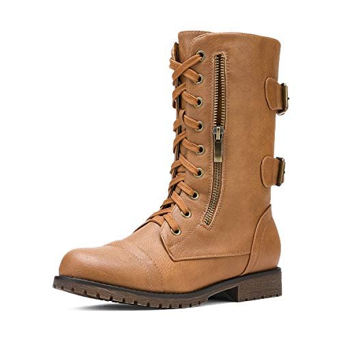 DREAM PAIRS Women's Terran Camel Mid Calf Built-in Wallet Pocket Lace up Military Combat Boots - 9.5 M US