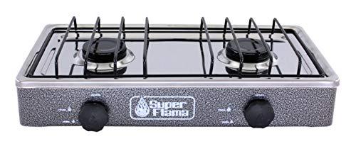 Super Flama 2Q-CA-G Parrilla de Gas de 2 Quemadores con Cubierta de Acero y Cuerpo de Lamina Pintada, color Gris