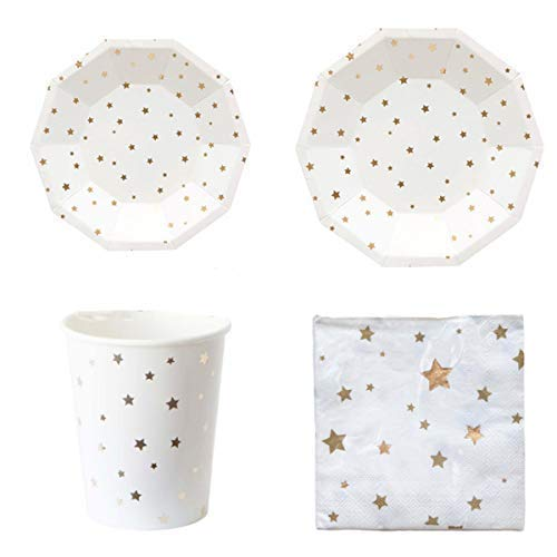 Polka Dot Sky Oro y Blanco Aluminio Stars Fiesta Cumpleaños Pack Vajilla Papel Platos Vasos Servilletas Colores Vibrantes 8 Paquete (32pcs)