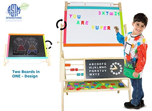 EasY FoxY ToY EaselforKids WoodenToddlerArtWhiteBoard for Children with Paper Roll AllinOne Wooden Kid#039s Art Easel with Paper Roll and Accessories