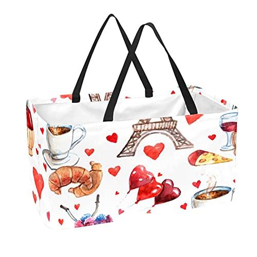 Bolsa de supermercado reutilizable Contenedores de almacenamiento grandes de 50L Cesta de compras Bolsas de mano Torre Eiffel de París Amor Corazón Té Vino