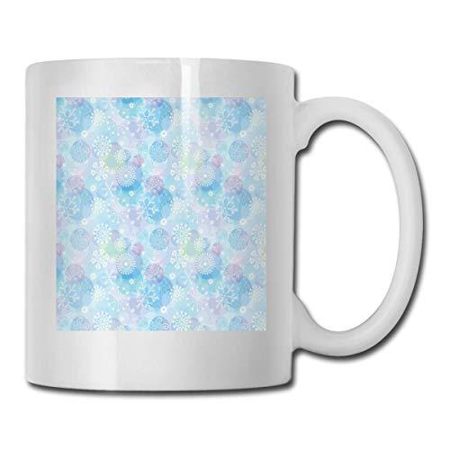 aza de café de cerámica divertida, fondo de estilo Bokeh con patrón de copo de nieve abstracto Composición temática de invierno, tazas de té unisex que tazas de café, adecuado para oficina y hogar