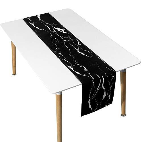 YDDZ Europese Ins zwart en wit tafelloper, marmer strepen, lange tafelkleed, wit | zwart, geschikt voor bruiloft | partij | verjaardag | Kerstmis | Dans ++