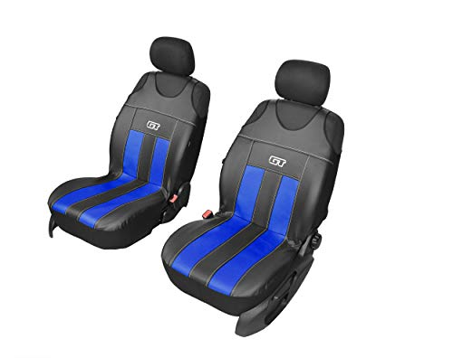 GT Kunstlederen universele stoelhoezen, meerdere kleuren, sportdesign, geschikt voor Ford Ka+ voorkant hoezen blauw