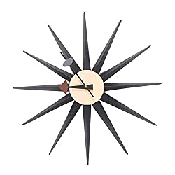 Black Sunburst Metal Wooden Wall Clock Handmade Antique Retro Danish Nelson Style Home Hotel Bar Office Decor Gift