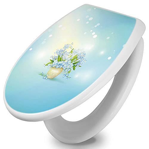 banjado Toilettendeckel mit Absenkautomatik | WC Sitz 44cm x 5cm x 37cm | Klodeckel weiß | Klobrille mit Edelstahl Scharnieren | Toilettensitz mit Motiv Vergissmeinnicht
