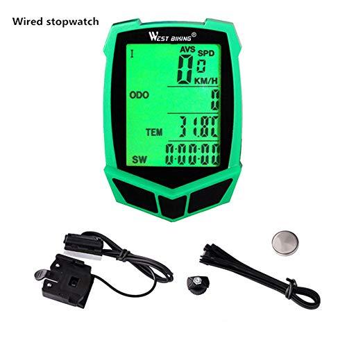 Wired/Wireless-Fahrrad-Computer, 20 Funktionen Wasserdicht Radfahren Speedometer Stoppuhr Odometer für MTB Straßen Mountian Bike (Wired - Green)