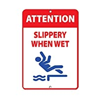ぬれたとき滑りやすい注意 メタルポスタレトロなポスタ安全標識壁パネル ティンサイン注意看板壁掛けプレート警告サイン絵図ショップ食料品ショッピングモールパーキングバークラブカフェレストラントイレ公共の場ギフト