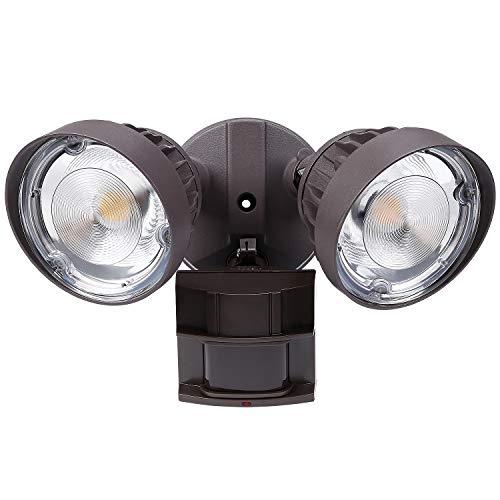 LEONLITE 30W (200W Eqv.) Dual-Head LED Security Light, 3300lm Ultra Bright Outdoor Flood Light wtih Motion Sensor, IP65 Waterproof, ETL & DLC Listed, 3000K Warm White, 5 Years Warranty - Brown