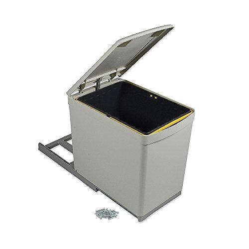 Emuca 8906621 - Cubo de basura para reciclaje, fijación inferior y extracción manual con 1 contenedor de 16 litros y tapa automática