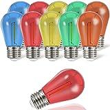 Suncan Bombilla LED Edison S14 E27, bombilla LED de colores, forma de pera, 1 W, E27, rojo, amarillo, verde, azul, marrón, plástico, bombillas de fiesta, no regulable, 10 unidades