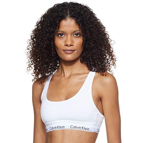 Calvin Klein Modern Cotton-Bralette Sujetador, Blanco (White 100), S para Mujer