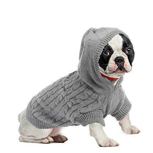 ubest Warme Hundepullover, Sweater Gestrickter Pullover mit Kapuze für Kleine Hunde, Hund Pullover für Herbst Winter, Grau, XL