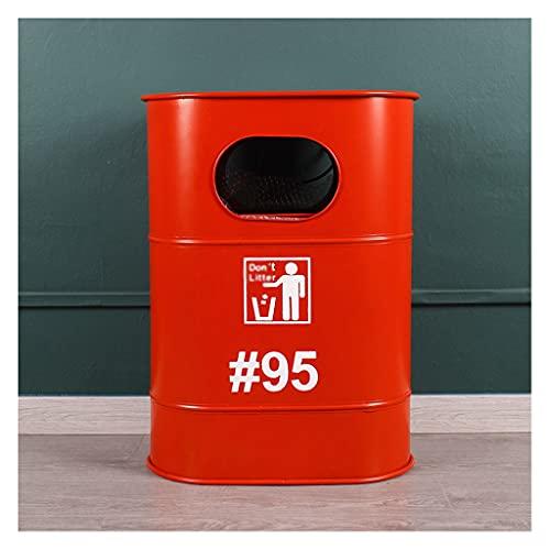 YIXIN2013SHOP Cubo de basura de metal americano retro estilo industrial antiguo cubo de hierro adornos para latas de aceite decoraciones de hierro forjado en forma de cubo de basura (color: rojo)
