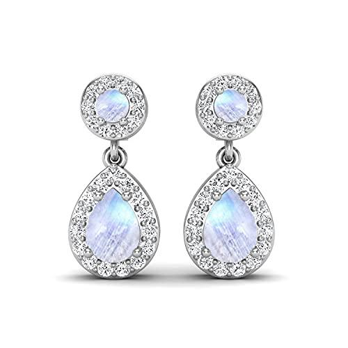 Shine Jewel 2.2 CT Rainbow Moonstone Pendientes colgantes con CZ 925 Regalo de joyería nupcial de plata esterlina para mujeres (Plata esterlina)
