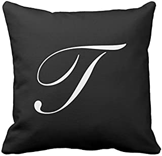 Letter T Black Monogram Nursery Throw Pillow Cover for Girls Dorm Room Decor Square Canvas Cushion Cover with Zipper 18 x 18