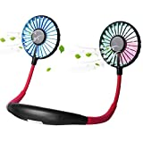 Upgraded Version Portable Neck Fan, Color Changing LED, with Aromatherapy, 360° Free Rotation, and Lower Noise Strong Airflow Headphone Design for Sport, Office, Home, Outdoor, Travel, etc.
