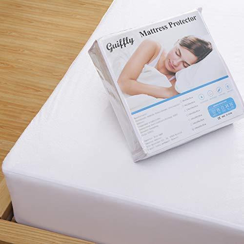 Guiffly Protège Matelas 160x200 cm Impermeable Housse de Matelas en Coton éponge Respirant Impermeable Anti Acarien - Alèse Matelas Lavable en Machine, Blanc