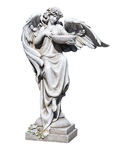 Joseph's Studio by Roman - Angel with Bird Bath Statue, 20H, Garden Collection, Resin and Stone, Decorative, Religious Gift, Home Outdoor and Indoor Decor, Durable, Long Lasting
