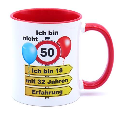 Ich bin nicht 50 ich bin 18 mit 32 Jahren Erfahrung Tasse Becher Kaffeebecher Kaffeetasse Geschenk zum Geburtstag Geburtstagsgeschenk für Frauen Männer Mann Frau Geburtstagsdeko Deko Mama Papa Opa Oma
