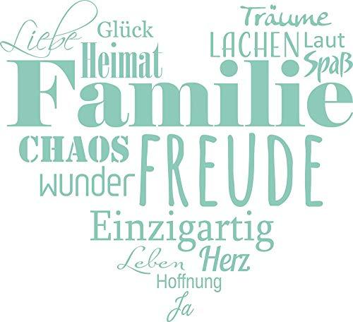 GRAZDesign Wandtattoo Familien - Tattoo als Herz an die Wand - Wanddeko für Wohnzimmer/Schlafzimmer/Küche / 55x50cm / 055 Mint
