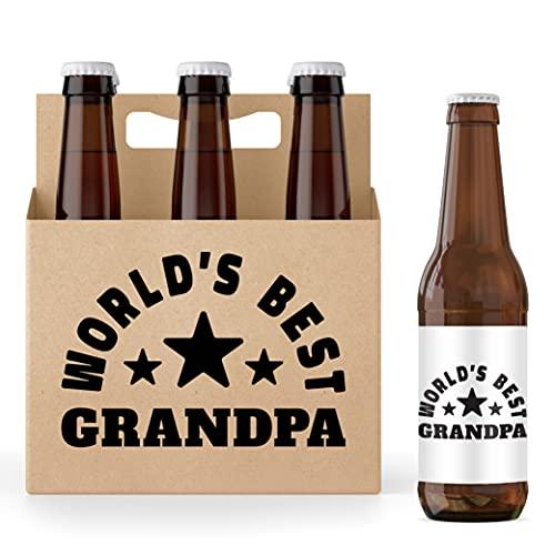 Bier-Geschenke für Männer - 6 Stück Bierflaschenhalter mit Flaschenetiketten - 6 Stück Bierträger - 6 Stück Bierflaschenetiketten - Bierhalter (Weltbester Opa)