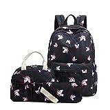 Sunborls 3 in 1 Nylon Backpack Girls Lightweight School Bookbag Women College Backpack (black)