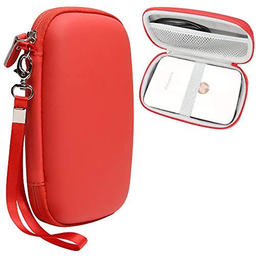 CaseSack Schutzhülle für HP Sprocket Plus und Sprocket Select tragbarer Fotodrucker, Netztasche für Fotopapier und Ladekabel, elastisches Band, abnehmbare Handschlaufe (rot)