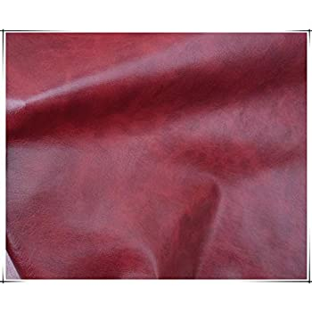 NAKAN Red Leatherette Vinyl Leather Cloth Vintage Pattern Faux Leather Fabric 140cm/55   Wide Upholstery Material for Furniture Sofa Seats Cover DIY Handicraft