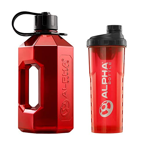 Alpha Bottle XXL + Alpha Bottle V2 – Anti-Bacterial BPA and DEHP Free Protein Shaker with BioCote Technology. Ideal For Gym, Dieting, Bodybuilding, Outdoor Sports, Hiking & Office, Half Gallon (Red)