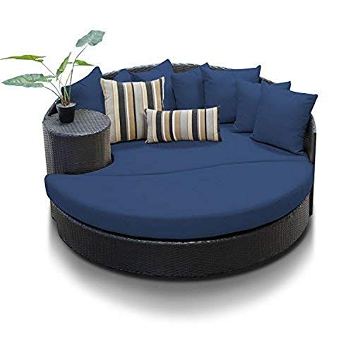 TK Classics Navy Newport Outdoor Wicker Patio Circular Sun Bed Furniture