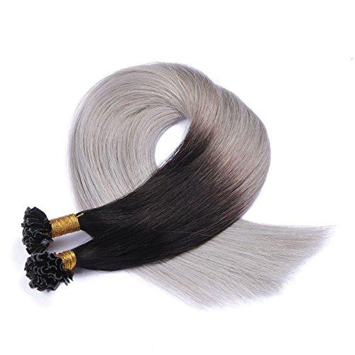 Keratin Bonding - # 1B/SILVER OMBRE - 40cm - 50 Strähnen - 1g - 100% Remy Echthaar Haarverlängerung U-Tip Extensions sehr hohe Qualität by NOVON Hair Extention