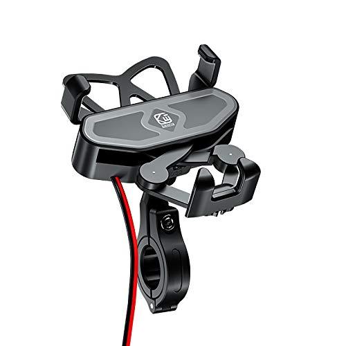 Soporte Movil Bicicleta,Soporte Motocicleta Soporte para teléfono para Bicicleta,Tiakia Soporte Movil Moto con Rotación 360°,para Cargador USB 12-24 V (Motorcycle Charging)