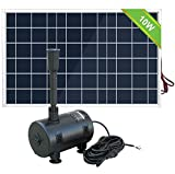 Pumplus Solar Powered Fountain Pump, New Upgraded Mini Solar Powered Bird Bath Fountain Pump 10W Solar Panel Kit Water Pump, Different Spray Pattern Heads for Pond Pool Garden, Solar Water Pump Kit