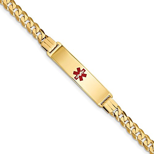 14k Yellow Gold Medical Alert Red Enamel Curb Link Id Bracelet 8 Inch Fine Jewellery For Women Mothers Day Gifts For Her