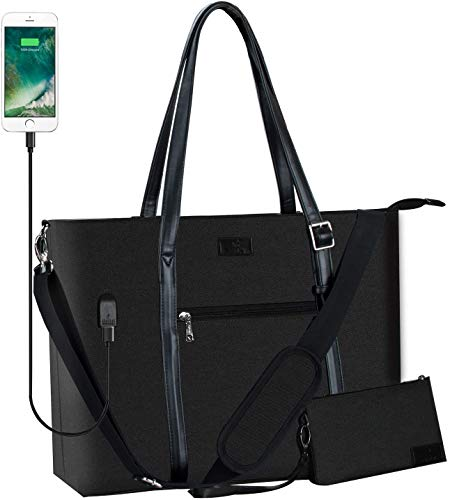 Laptop Tote Bag, Large Women Work Bag Purse USB Teacher Bag Fits 17.1 Inch Laptop (XL Black 17inch)