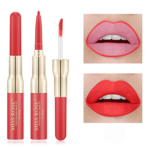 Miss Rose 2 In 1 Waterproof Lip Gloss & Lip liner, Red, 7 ml